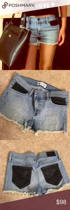 Wildfox Denim Cutoffs w Leather pockets Trades Denim Shorts with open hem & faux leather pockets ... Coach Tote also listed Wildfox Shorts Jean Shorts