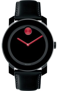 Movado Bold - Large Movado BOLD watch, 42 mm black TR90 composite material and stainless steel case, black dial with red sunray dot and hands, coated black leather strap with purple lining and black ion-plated stainless steel classic tongue buckle, K1 crystal, Swiss quartz movement, water resistant to 30 meters.