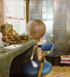 BACK SCREEN INSPIRATION FOR DOORS Desk space. Xk #kellywearstler #desk #interior