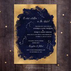 Constellation Wedding Invitation Gold and by soumyasinvitations