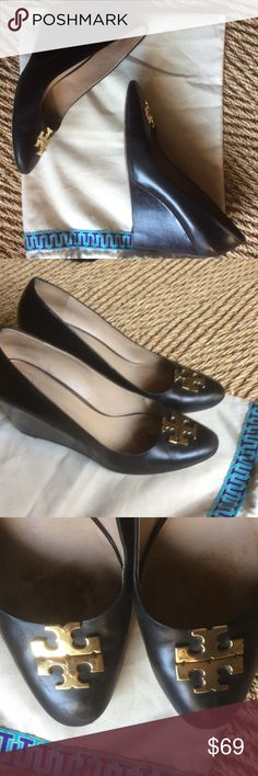 """AUTHENTIC TORY BURCH LEATHER PUMPS W GOLD LOGO AUTHENTIC TORY BURCH LEATHER PUMPS W GOLD LOGO 4"""" wedges comfy. Comes in Tory bag Tory Burch Shoes"""