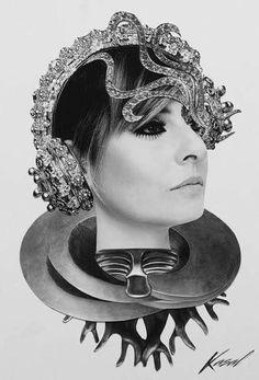 Intervenção artística da Kasal na cantora Fernanda Abreu. #artecollage #colagem #art #gallery #surreal #fotografia #galeria #photography #paperart #mulher #intervenção