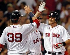 Game #69: Will Middlebrooks had the biggest hit of the game. A 2 run shot in the 8th that brought the faithful to their feet. The Sox won 6-5 and have won 3 series in a row, winning 7 of their last 9 games. Matsuzaka (5 1/3 innings, 4 hits, 4 runs, 4 strikeouts) put his team in a 3-0 hole in the 1st, throwing 33 pitches. He settled down, shutting down the Marlins from the 2nd through 5th. Pictured: Middlebrooks is congratulated by Jarrod Saltalamacchia after hitting his 8th inning home run.