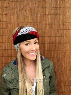 Crimson Red, Grey, Black Braid Head Hair Accessory Band Earwarmer Headband Crochet Knit Head Wrap Fashion Gray Girl Woman Unisex Boy Men