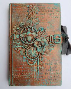 "Steampunk diy 36662184452109244 - ""altered book cover with my beloved finnabair products…"" Source by Mixed Media Journal, Mixed Media Canvas, Mixed Media Collage, Art Journal Pages, Art Journals, Art Journal Covers, Texture Metal, Altered Book Art, Altered Canvas"