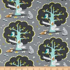 Michael Miller Les Amis Les Amis Grey from @fabricdotcom  Designed by Patty Sloniger for Michael Miller Fabrics, this cotton print features a forest tree with friends. Colors include teal, grey, white and lime on a grey background. Use for quilting and craft projects as well as apparel and home decor accents.