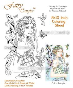 Forget-Me-Not - Fairy Tangles Coloring Sheet Coloring Page by Norma J Burnell Flower Fairies