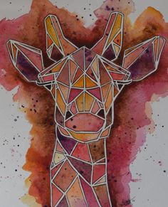 Geometric Giraffe Watercolor