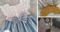 Vestido de Niña con Canesu a Crochet Crochet Bunny, Knit Crochet, Baby Fashionista, Baby Patterns, Baby Dress, Crochet Projects, Hair Bows, Lily, Knitting