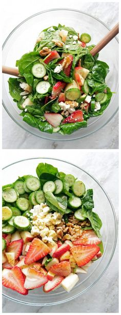 Strawberry Ccucumber Spinach Salad With Apple Cider Vinaigrette | Tasty Food Collection
