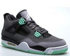 a62778835a64 Authentic Air Jordan 4 Retro Dark Grey Green Glow-Cement Grey-Black (Women  Men Gs Girls) For Sale