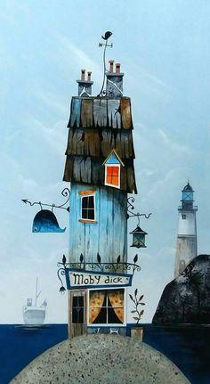 """Moby Dick"" by Gary Walton House Drawing, Love Illustration, Naive Art, Grafik Design, Whimsical Art, Beach Art, Art Inspo, Fantasy Art, Watercolor Paintings"