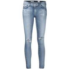 Ag Jeans distressed skinny jeans (€320) ❤ liked on Polyvore featuring jeans, pants, blue, distressed skinny jeans, destroyed skinny jeans, ag+adriano+goldschmied jeans, blue ripped jeans and torn jeans
