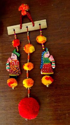 Items similar to Christmas Sale -Wall hanging/King Queen and Pompoms Wall Hanging / Door Hangings / Indian Traditional King Queen Wall Hanging / Home Decor on Etsy Door Hanging Decorations, Diy Diwali Decorations, Wall Hanging Crafts, Festival Decorations, Diy Wall Art, Diy Art, Diwali Diy, Diwali Craft, Art N Craft