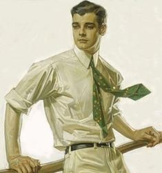 """""""Portrait of Charles Beach"""" by J C Leyendecker (German/American Painted for an advertisement for Arrow Shirts. Beach was Leyendecker's long-term lover, and made him the renowned face of Arrow Shirts and collars. Art Vintage, Vintage Posters, Jc Leyendecker, American Illustration, Norman Rockwell, Caricatures, Magazine Design, Joseph, Pin Up"""