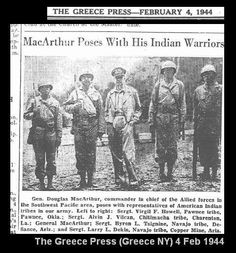 General douglas macarthur meets american indian troops wwii