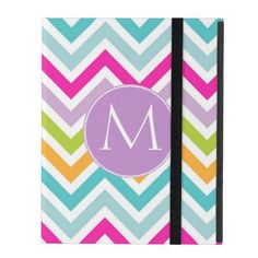 Colorful Chevron Monogram iPad Case. Cute colors! Love the teal blue, purple, pink and lime combo. Available for iPad Air, Mini and 2/3/4. Designed By DizzyDebbie