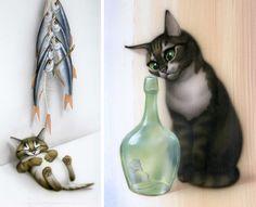10 художников, чьи сердца похищены котиками (из интернета)