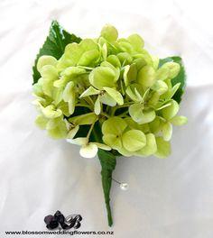 green hydrangea buttonhole