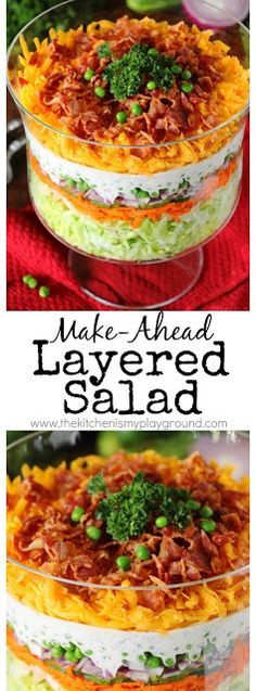 Make-Ahead Layered Salad {For a Crowd} ~ With make-ahead convenience and fabulous flavor, this is perfect for those summer cookouts & get-togethers.  www.thekitchenismyplayground.com