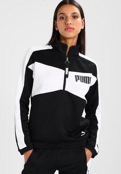 Puma ARCHIVE HALFZIP CREW - Sweatshirt - black - Zalando.co.uk