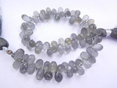 """8"""" STRAND NATURAL GRAY moonstone 5x8 5x9 mm faceted tear drop briolettes 85pcs Jewelry making supplies"""
