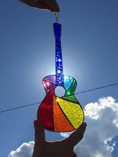 Stained Glass Acoustic Guitar Suncatcher Rainbow *Blue* Spiral Design (Tiffany method, Reinforced with Copper Wire) – Glass Art Designs Stained Glass Ornaments, Stained Glass Christmas, Stained Glass Suncatchers, Stained Glass Lamps, Stained Glass Designs, Stained Glass Projects, Stained Glass Patterns, Stained Glass Windows, Fused Glass