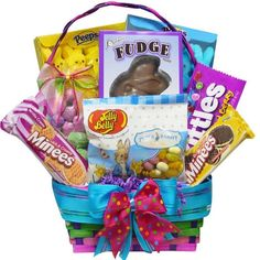 Easter Gift Basket Bunny Chocolate Candy Jelly Beans Skittles Free Shipping #Easter NOTE - Send this item as a gift - just fill in recipient's name and address at the space for the shipping address at checkout!