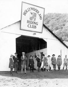 The Hollywoodland Riding Club in the 1920s. I'm thinking this was near the sign. If so, this stable and riding area later became Sunset Ranch in 1952.  Bizarre Los Angeles.