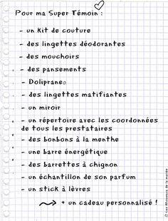 Petite liste pour le kit du témoin #témoin #conseils #weddingplanning