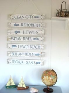 DIY Beach Signs Made from Recycled Wood--paint it white-washed/turquoise and use local landmarks.