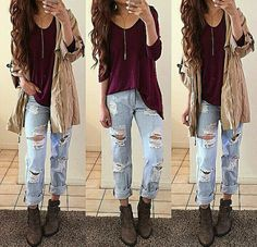 Tough ripped jeans #jeans #ripped #autum #clothes #style #fashion #inspiration