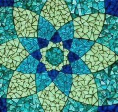Blue Mandala Glass Mosaic Translucent Tabletop by KSPMosaics