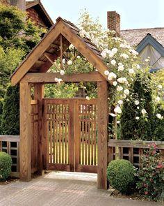 Garden Arbor With Gate, Arbor Gate, Wooden Garden Gate, Backyard Gates, Garden Gates And Fencing, Wooden Arbor, Garden Entrance, Garden Arches, Wooden Gates