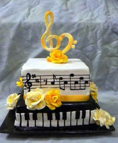 40 Tasty Music Cakes For Real Music Lovers – Fresh Design Pedia Music Wedding Cakes, Music Cakes, Violetta Torte, Music Note Cake, Piano Cakes, Dad Cake, Cake Decorating With Fondant, 40th Birthday Cakes, Happy Birthday
