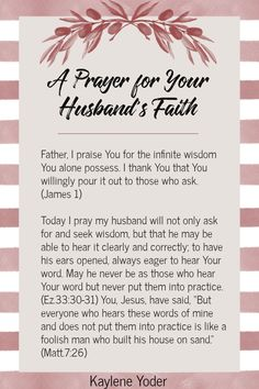 Do you pray for your husband to grow in faith? Use this Scripture marriage prayer as you trust God to grow your husband spiritually and surrender your husband's spiritual growth back to God. || Kaylene Yoder #pray #marriageprayers #spiritualgrowth #kayleneyoder Prayer For My Marriage, Couples Prayer, Prayer For Wife, Christ Centered Marriage, Prayer For You, Strong Marriage, Husband Prayer, Relationship Prayer, Faith Prayer