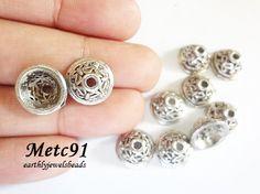 20 pcs Silver Butterfly Bead Cap Metal Component by EarthlyJewels, $1.80