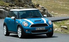MINI Cooper - Kite Blue body with White roof and bonnet stripes
