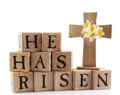 Photo about A wooden cross with the words He has risen spelled out with rustic alphabet blocks. Isolated on white. Image of jesus, alphabet, blocks - 18091197 He Has Risen, Christ Is Risen, Fete Pascal, Happy Resurrection Sunday, Godly Play, Easter Messages, Jesus Christus, Alphabet Blocks, Diy Ostern