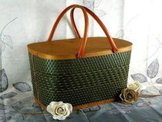 Vintage Burlington Wicker Picnic Basket Large with Sturdy Metal Handles