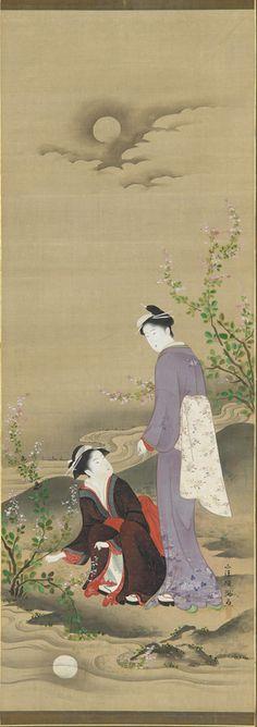 Tattoo Inspirations & Ideas - Japanese |  Kubo Shunman - Autumn: Two women gazing at the reflection of the moon, 19th Century Japanese Art | #Japanese #Art