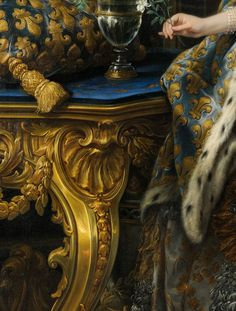 Charle/Charles-André van Loo, Marie Leszczinska, Queen of France (detail), 1747. The painting is currently located in Palace of Versailles.
