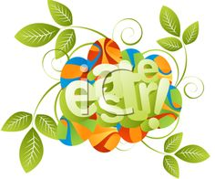 iCLIPART - Royalty Free Clipart Image of a Leaf and Coloured Egg Easter Greeting