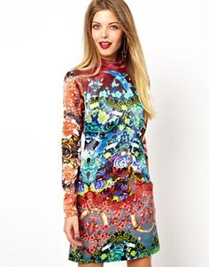 Enlarge ASOS Premium Shamen Mix Print Mini Dress