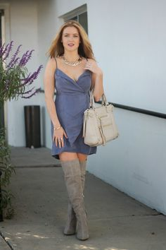 Thigh boots and casual dress outfit Knee High Boots, Over The Knee Boots, Casual Dress Outfits, Grey Boots, Head To Toe, Overall Shorts, Denim Skirt, Thighs, My Style