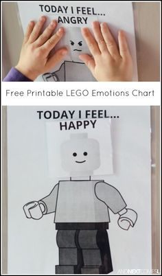 "Free printable LEGO ""Today I feel"" visual emotions chart for kids from And Next Comes L"