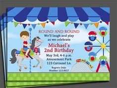 Carousel Amusement Park Invitation Printable  by ThatPartyChick, $15.00