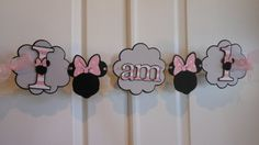 Minnie Mouse Birthday and Name Banner by ASweetCelebration on Etsy