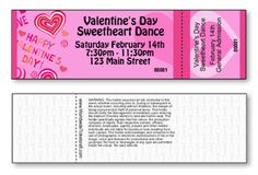 DIY heart-themed general admission tickets for high school sweetheart dance for Valentine's Day. Valentine's Day Events, Daddy Daughter Dance, Raffle Tickets, Student Council, High School Sweethearts, School Dances, Senior Living, Valentine's Day Diy, Valentine Day Crafts