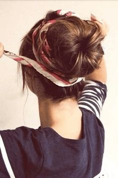 Messy bun and add a scarf  Prettier Than Your Average Pony: 15 Cute And Easy Ways To Pull Your Hair Up • Page 6 of 8 • BoredBug